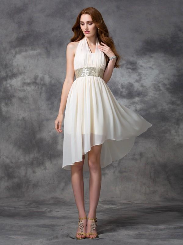 A-line/Princess Halter Sequin Sleeveless High Low Chiffon Cocktail Dresses