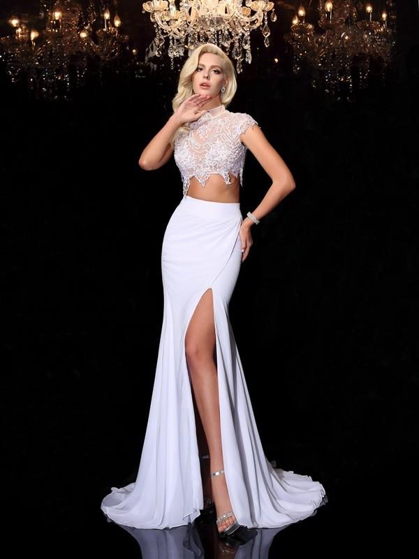 Sheath/Column High Neck Lace Short Sleeves Long Chiffon Dresses