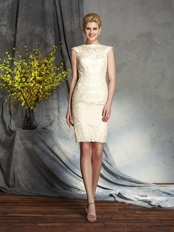 Sheath/Column Bateau Short Sleeves Short Elastic Woven Satin Mother of the Bride Dresses
