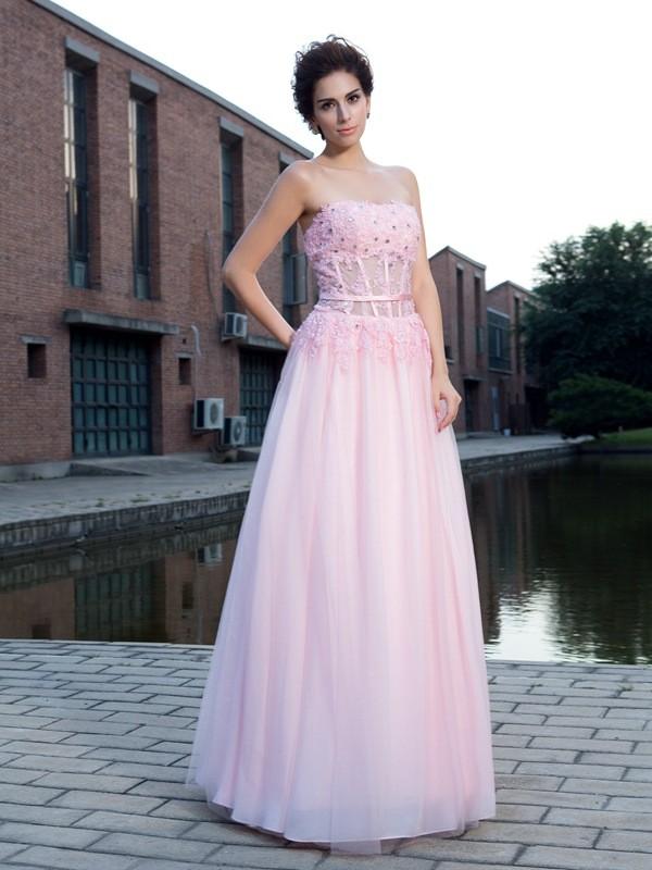 A-Line/Princess Straps Applique Sleeveless Long Net Dresses