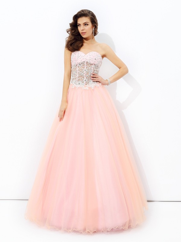A-line/Princess Sweetheart Lace Sleeveless Long Net Dresses