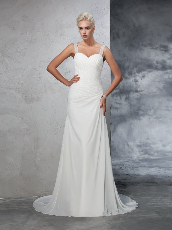 Trumpet/Mermaid Straps Ruched Sleeveless Long Chiffon Wedding Dresses