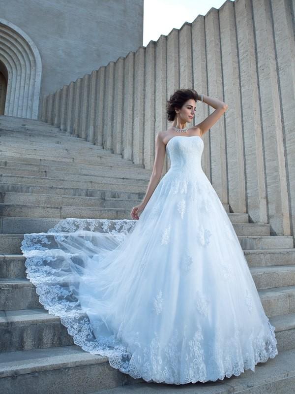 Ball Gown Spaghetti Straps Applique Sleeveless Long Satin Wedding Dresses