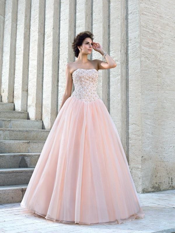 Ball Gown Strapless Beading Sleeveless Long Satin Wedding Dresses