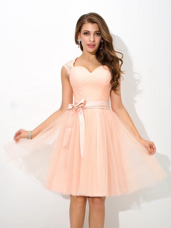A-Line/Princess Straps Sash/Ribbon/Belt Sleeveless Short Net Bridesmaid Dresses