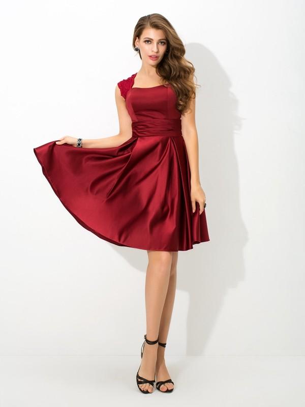 A-Line/Princess Straps Pleats Sleeveless Short Satin Bridesmaid Dresses