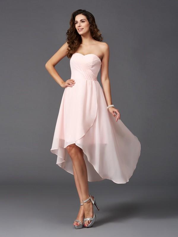 A-Line/Princess Sweetheart Ruffles Sleeveless High Low Chiffon Bridesmaid Dresses