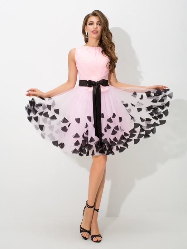 A-Line/Princess High Neck Bowknot Sleeveless Short Net Cocktail Dresses