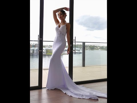 Trumpet/Mermaid Spaghetti Straps Applique Stretch Crepe Sleeveless Sweep/Brush Train Wedding Dresses