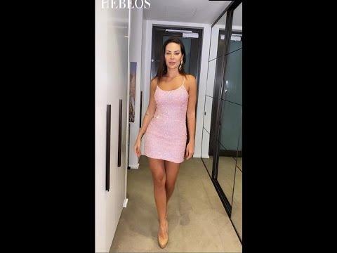 Sheath/Column Paillette Spaghetti Straps Sleeveless Short/Mini Homecoming Dresses