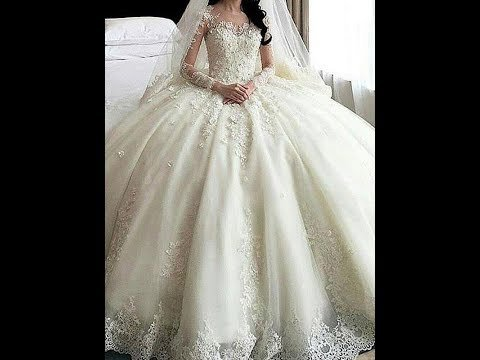 Ball gown scoop cathedral train long sleeves lace applique tulle
