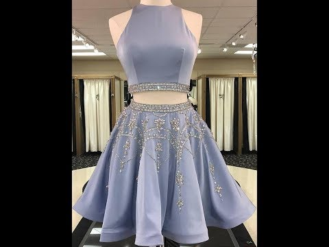 A-Line/Princess Sleeveless Bateau Satin Beading Short/Mini Two Piece Dresses