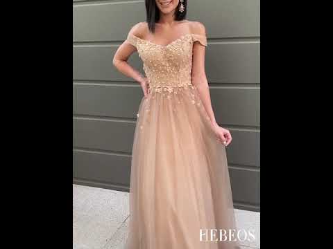 A-Line/Princess Applique Tulle Sleeveless Floor-Length Off-the-Shoulder Dresses