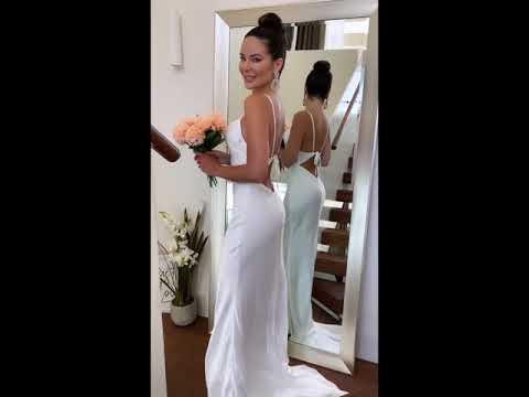 Sheath/Column Spaghetti Straps Silk like Satin Sleeveless Ruched Sweep/Brush Train Wedding Dresses