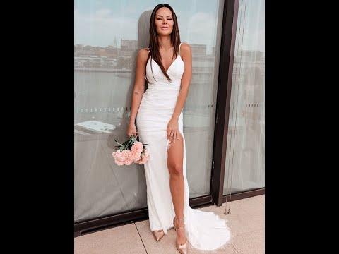 Sheath/Column Ruched Lace Spaghetti Straps Sleeveless Sweep/Brush Train Wedding Dresses